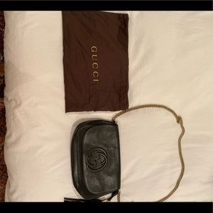 Gucci Soho Medium Leather Shoulder Bag, Black